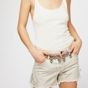Free People Boho Shorts Jeans Embroidered